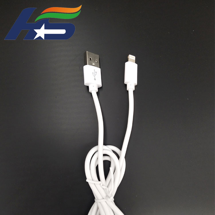 White 1m Length Pvc USB Phone Cable with 8pin head