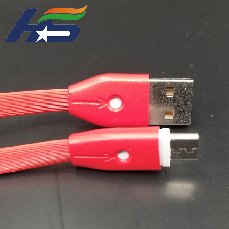Colorful red TPE USB data moblie phone cable with light for Mirco system