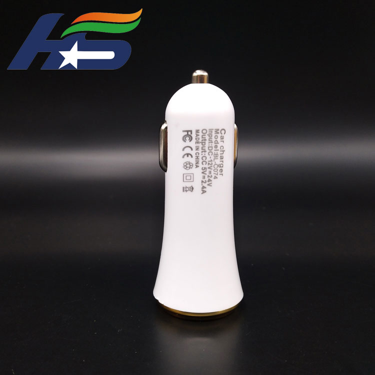 Hot sale dual USB white car charger