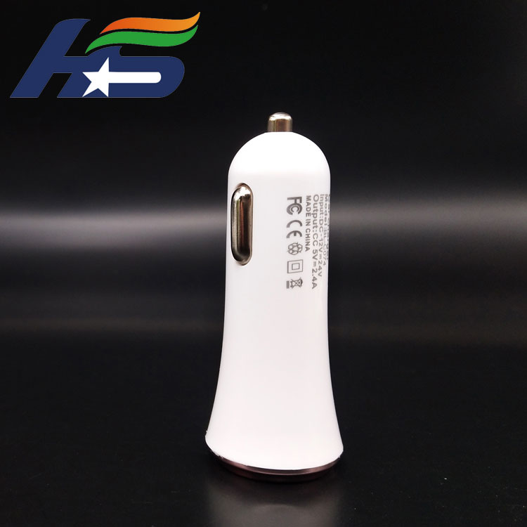 Portable dual USB ports car charger